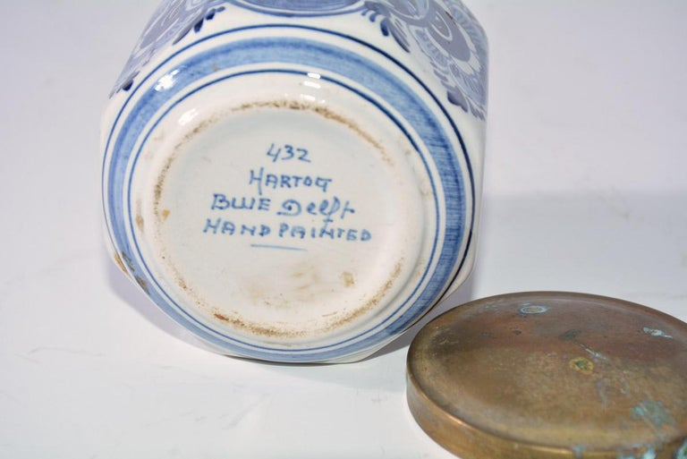 20th Century Vintage Blue and White Octagonal Canister with Brass Lid For Sale