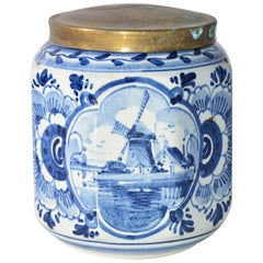 Vintage Blue and White Octagonal Canister with Brass Lid