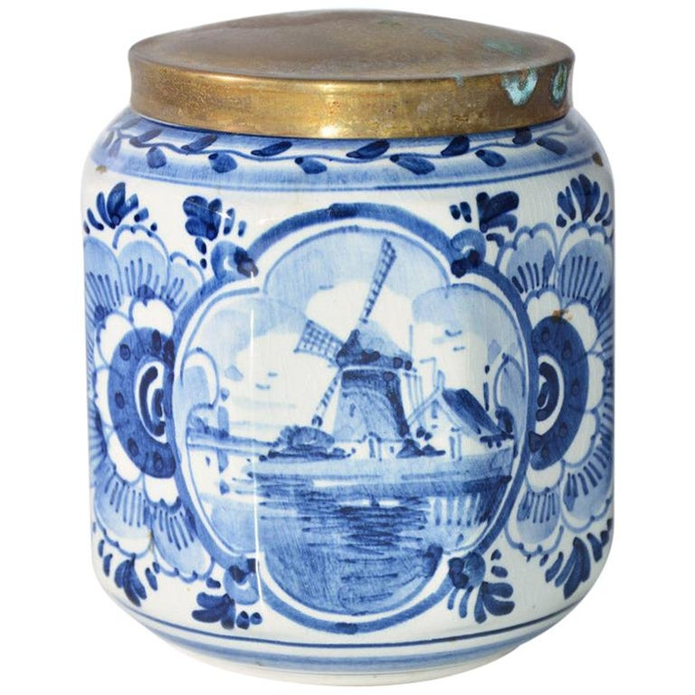 Vintage Blue and White Octagonal Canister with Brass Lid For Sale