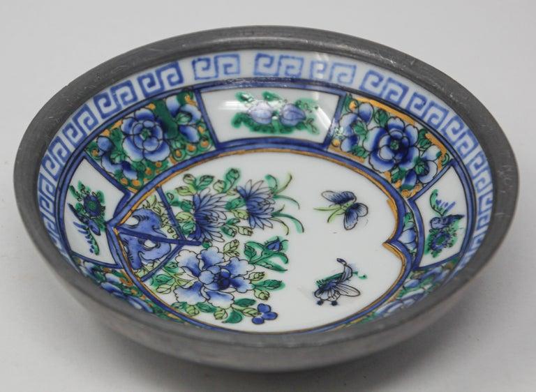 Vintage Blue and White Porcelain Bowl, Catchall Encased in Pewter For Sale 2