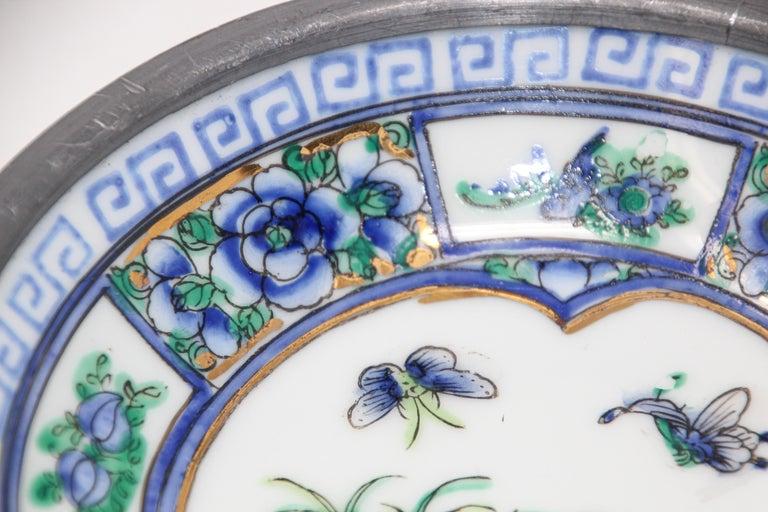 Vintage Blue and White Porcelain Bowl, Catchall Encased in Pewter For Sale 3