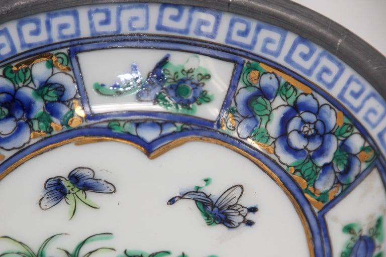 Vintage Blue and White Porcelain Bowl, Catchall Encased in Pewter For Sale 5