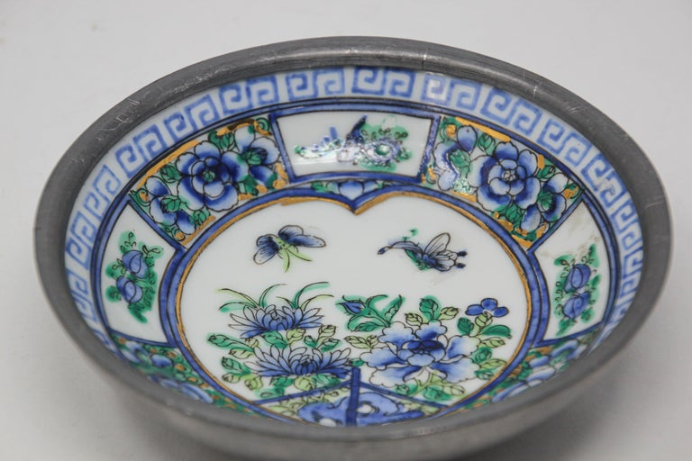 Hong Kong Vintage Blue and White Porcelain Bowl, Catchall Encased in Pewter For Sale