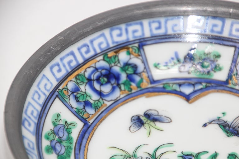 Hand-Crafted Vintage Blue and White Porcelain Bowl, Catchall Encased in Pewter For Sale