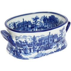 Vintage Blue and White Porcelain Planter Jardinière, 20th Century