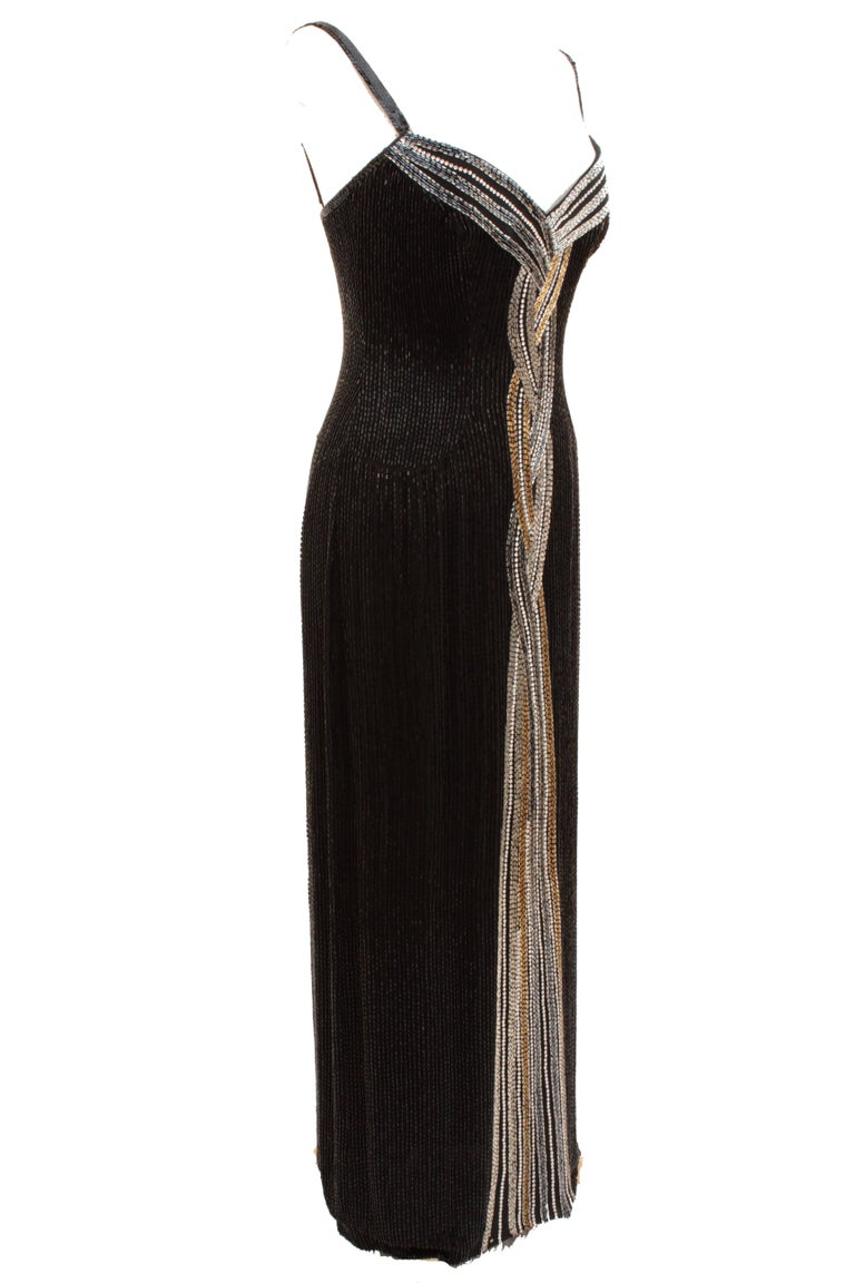 Vintage Bob Mackie Embellished Black Silk Evening Gown Size 10  For Sale 4