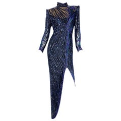 Vintage Bob Mackie Navy Blue Fully Embellished Iris Flower Long Dress Gown