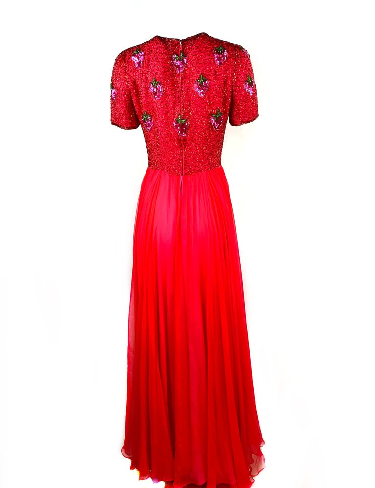 Vintage BOB MACKIE Red and Pink Strawberry Maxi Evening Dress Gown Size 10 For Sale 6