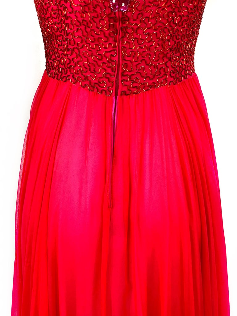 Vintage BOB MACKIE Red and Pink Strawberry Maxi Evening Dress Gown Size 10 For Sale 7