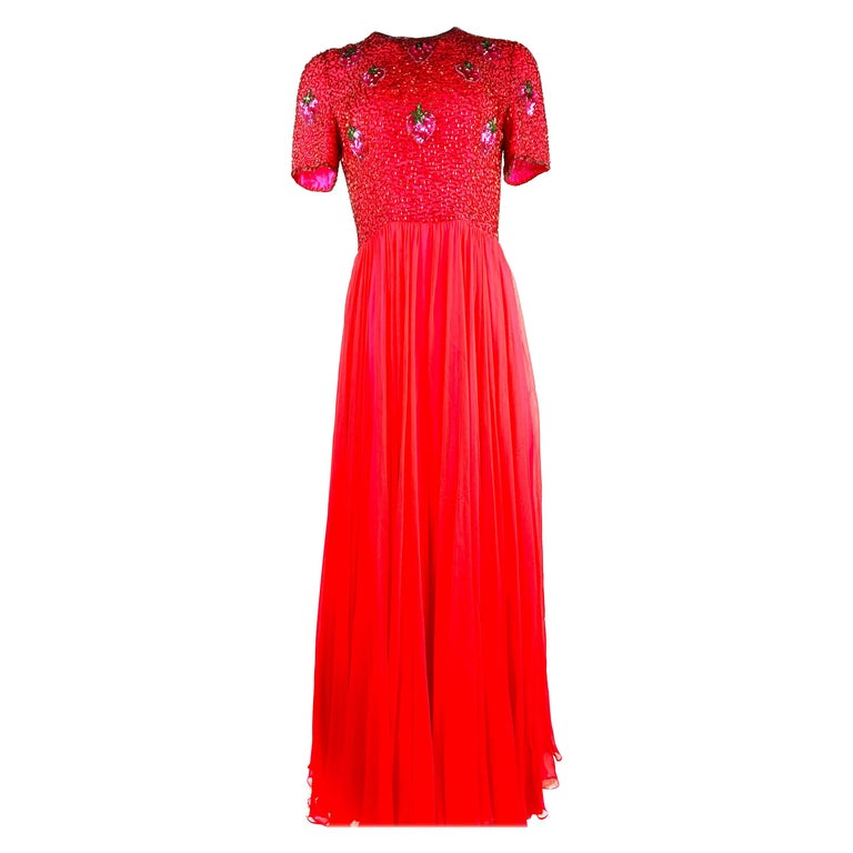 Vintage BOB MACKIE Red and Pink Strawberry Maxi Evening Dress Gown Size 10 For Sale