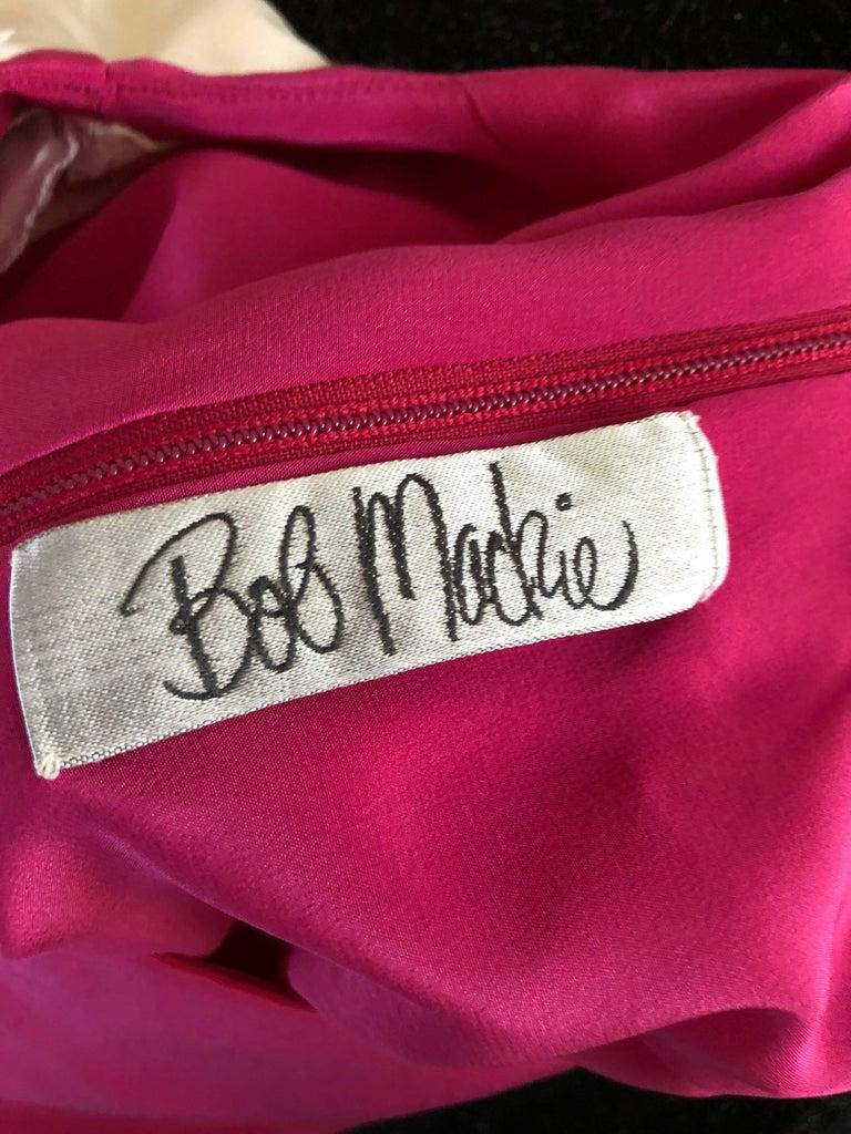 Vintage Bob Mackie Size 12 / 14 Hot Pink Ivory 1990s Short Sleeve 90s Silk Dress For Sale 6