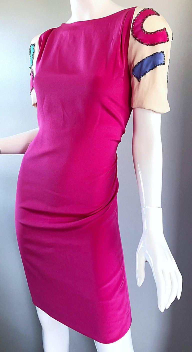 Women's Vintage Bob Mackie Size 12 / 14 Hot Pink Ivory 1990s Short Sleeve 90s Silk Dress For Sale