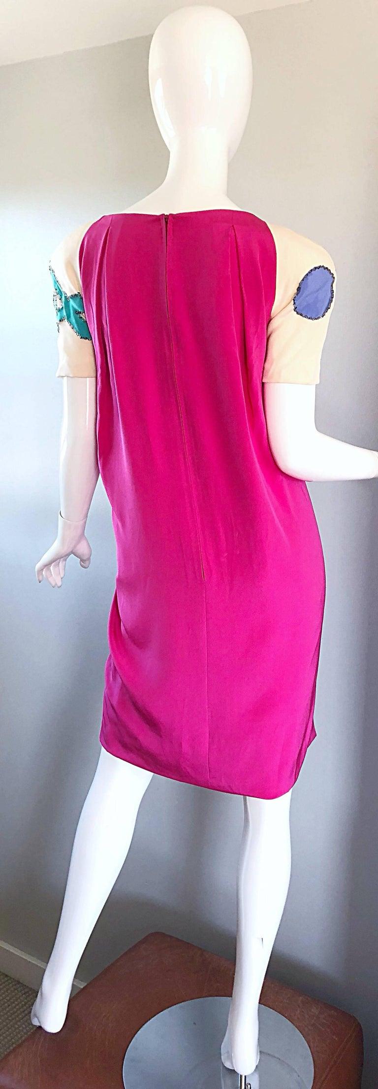 Vintage Bob Mackie Size 12 / 14 Hot Pink Ivory 1990s Short Sleeve 90s Silk Dress For Sale 1
