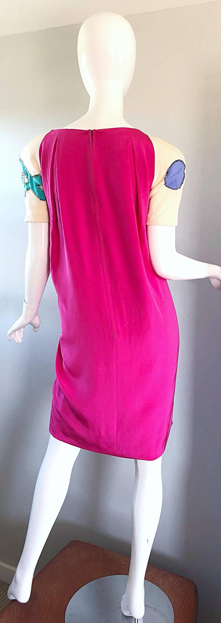 Vintage Bob Mackie Size 12 / 14 Hot Pink Ivory 1990s Short Sleeve 90s Silk Dress For Sale 4