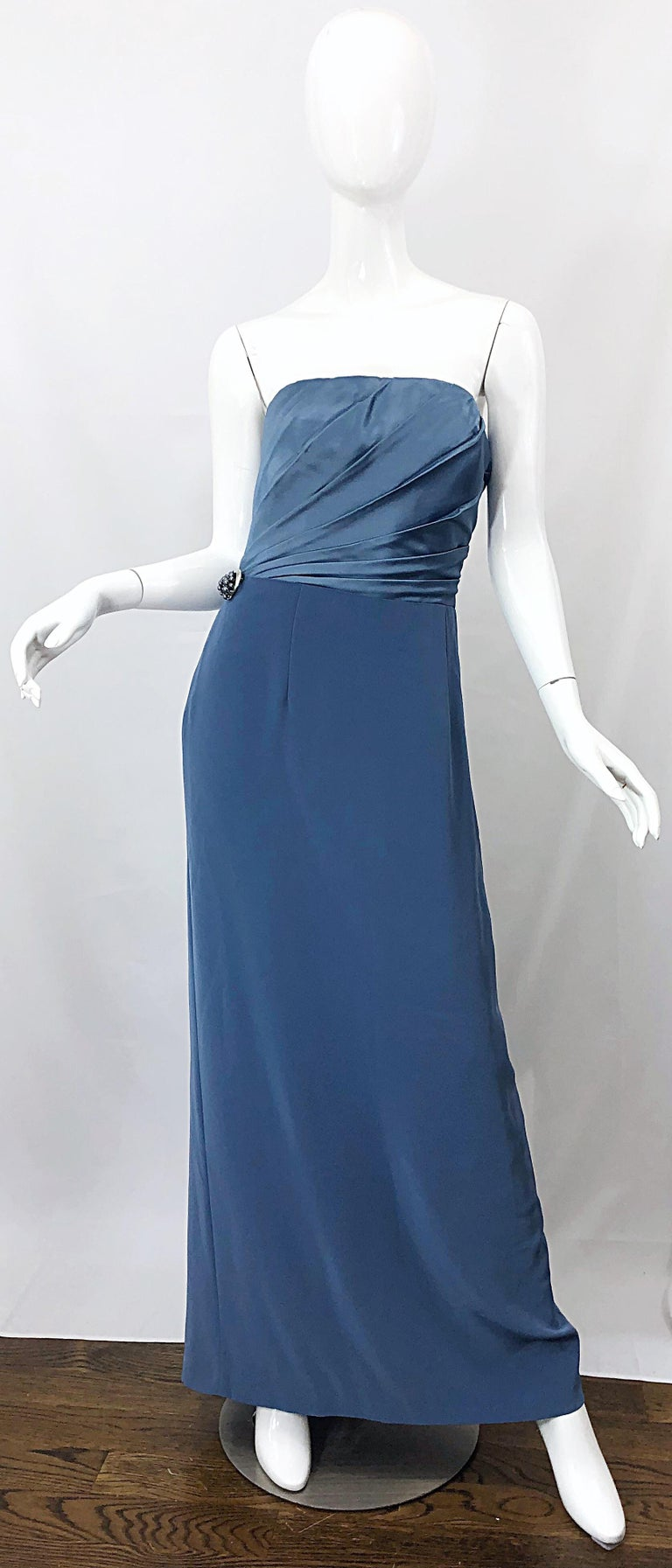 Vintage Bob Mackie Size 12 80s Blue Silk Strapless 1980s Evening Gown Dress For Sale 6
