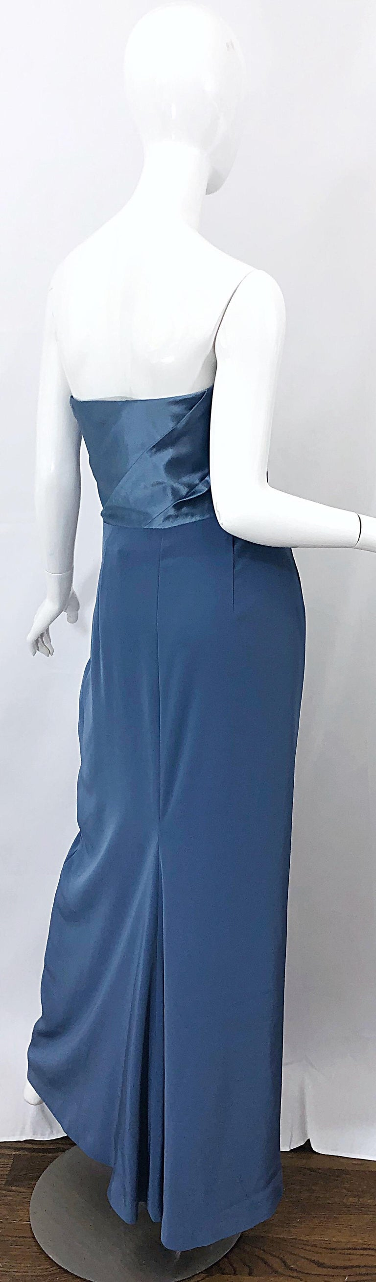 Vintage Bob Mackie Size 12 80s Blue Silk Strapless 1980s Evening Gown Dress For Sale 7