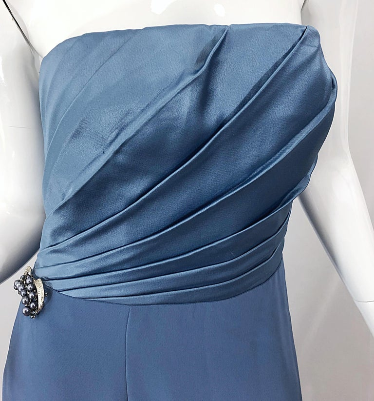 Vintage Bob Mackie Size 12 80s Blue Silk Strapless 1980s Evening Gown Dress For Sale 8