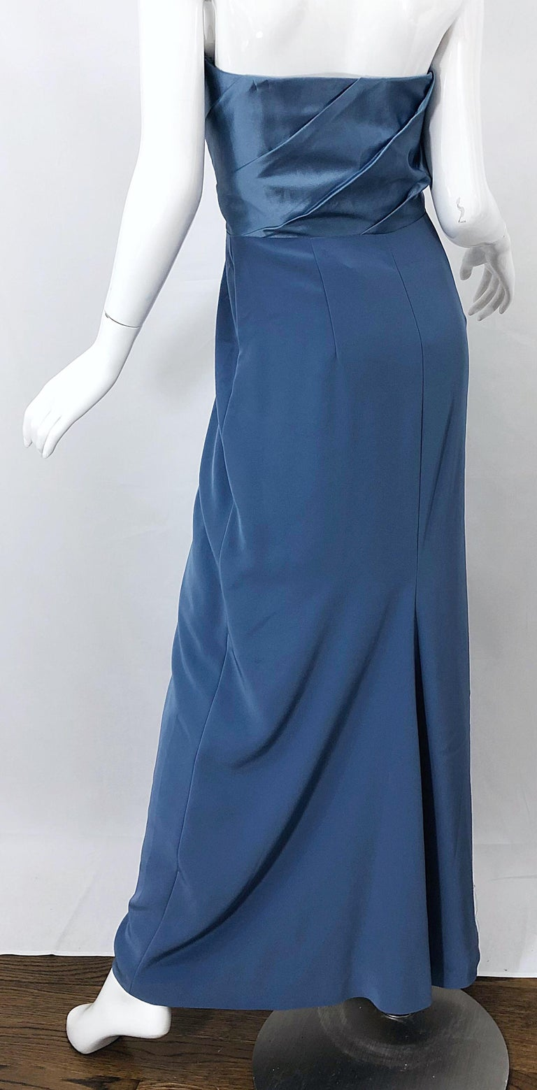 Vintage Bob Mackie Size 12 80s Blue Silk Strapless 1980s Evening Gown Dress For Sale 9