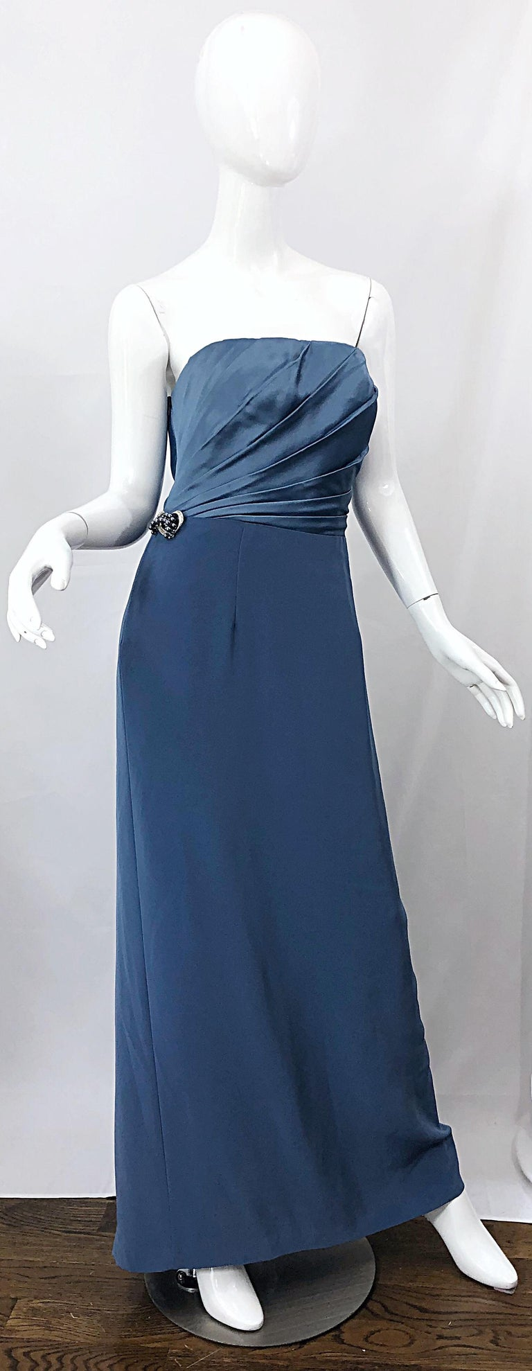 Vintage Bob Mackie Size 12 80s Blue Silk Strapless 1980s Evening Gown Dress For Sale 10