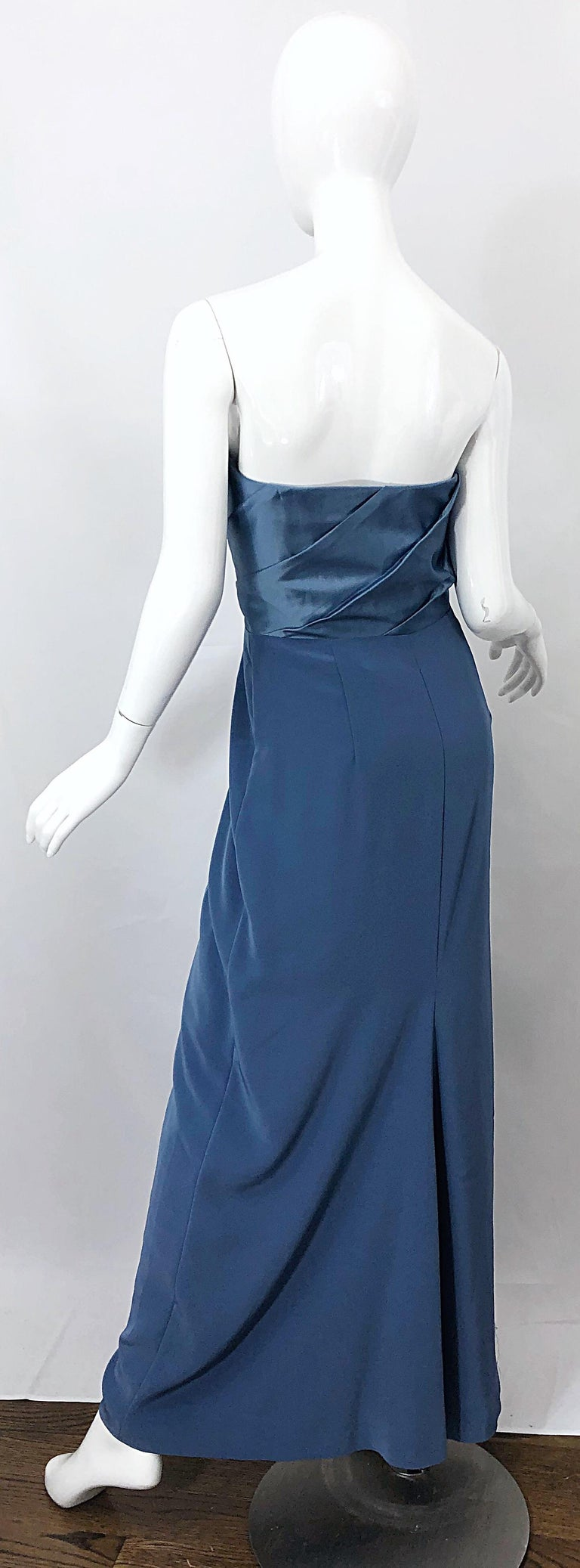 Vintage Bob Mackie Size 12 80s Blue Silk Strapless 1980s Evening Gown Dress In Excellent Condition For Sale In Chicago, IL