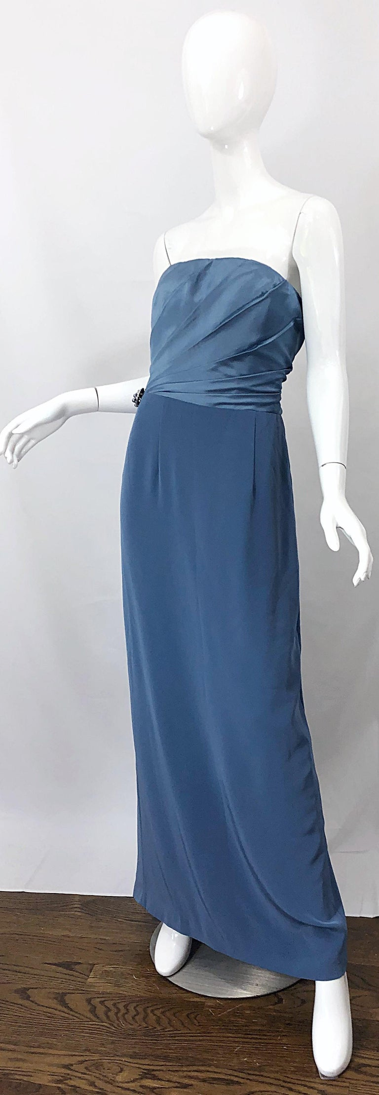 Women's Vintage Bob Mackie Size 12 80s Blue Silk Strapless 1980s Evening Gown Dress For Sale