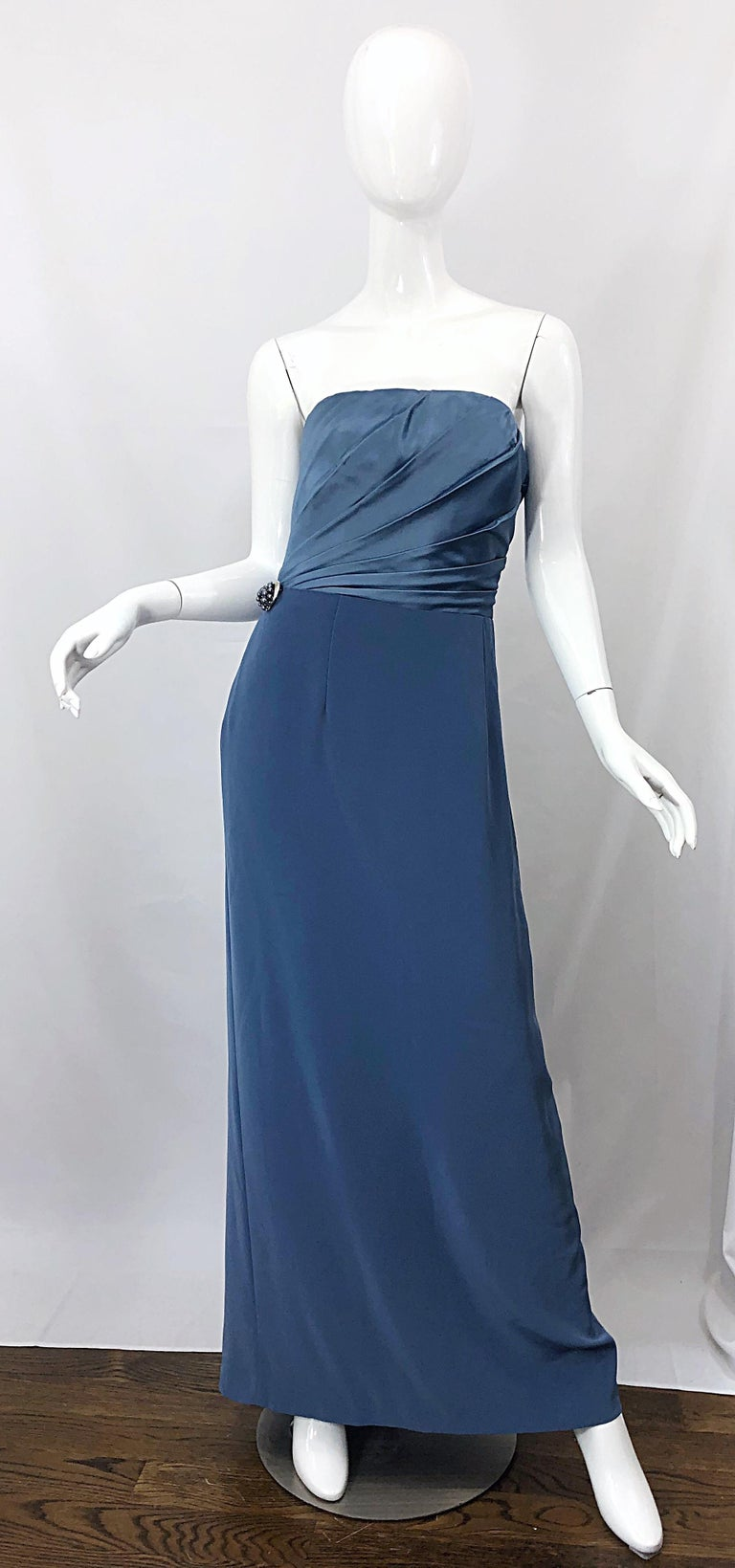 Vintage Bob Mackie Size 12 80s Blue Silk Strapless 1980s Evening Gown Dress For Sale 2