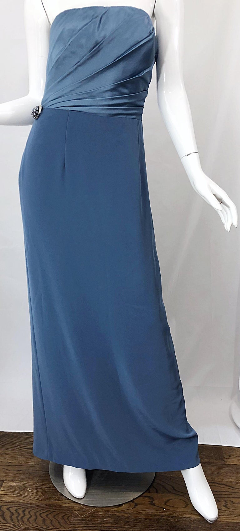 Vintage Bob Mackie Size 12 80s Blue Silk Strapless 1980s Evening Gown Dress For Sale 3