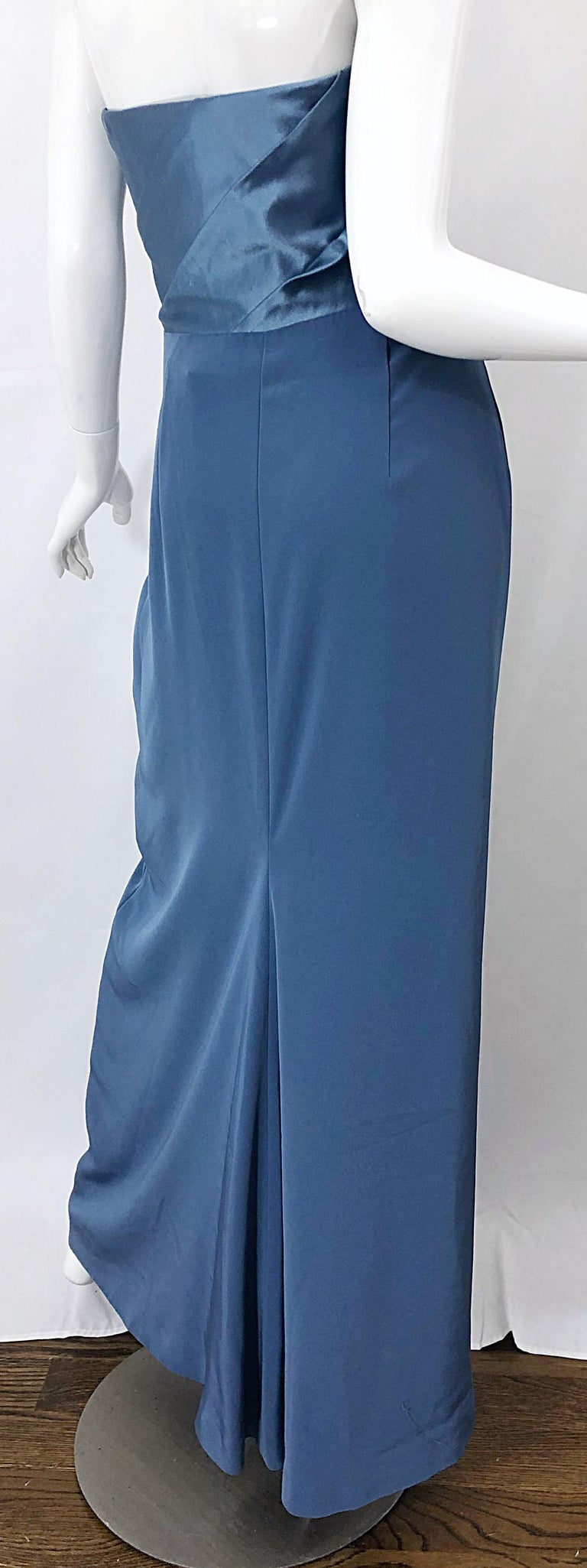 Vintage Bob Mackie Size 12 80s Blue Silk Strapless 1980s Evening Gown Dress For Sale 4