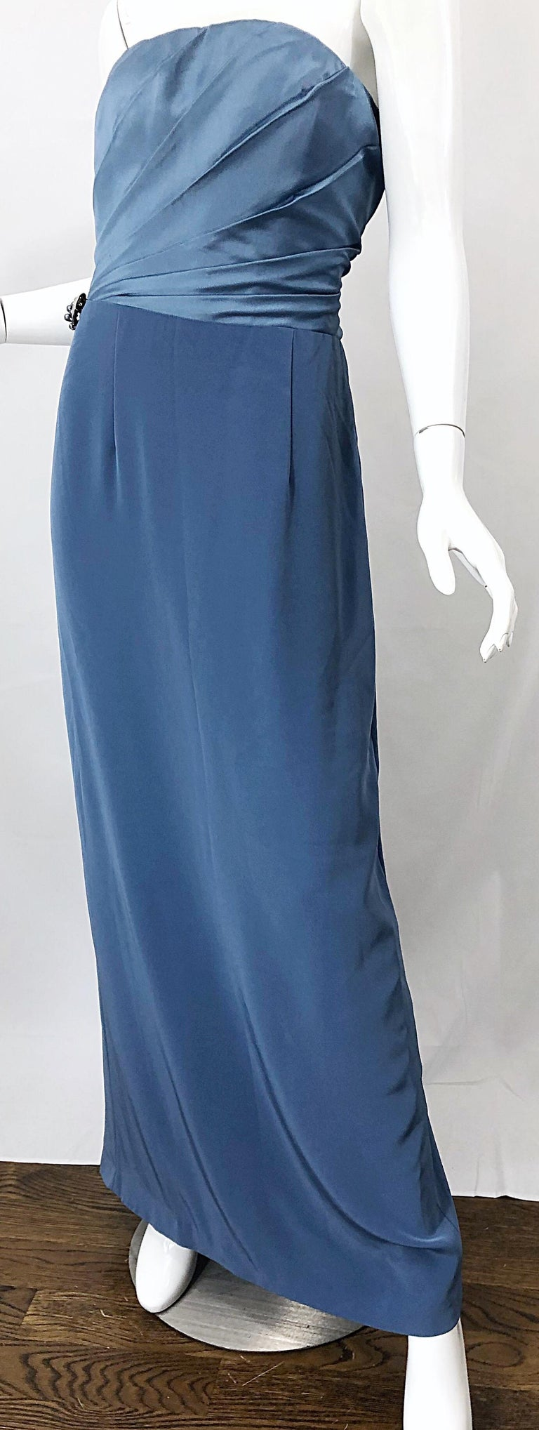 Vintage Bob Mackie Size 12 80s Blue Silk Strapless 1980s Evening Gown Dress For Sale 5