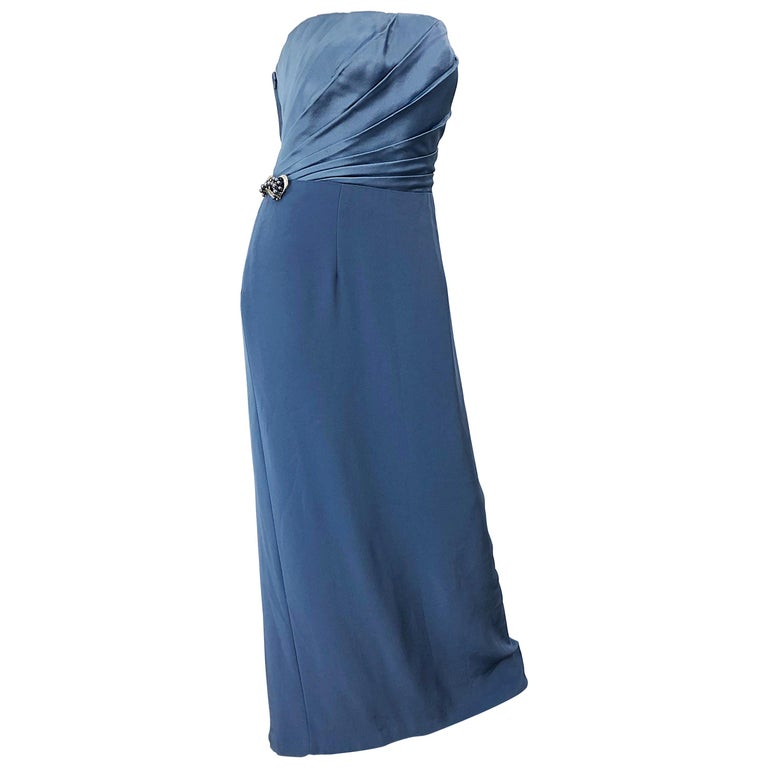 Vintage Bob Mackie Size 12 80s Blue Silk Strapless 1980s Evening Gown Dress For Sale
