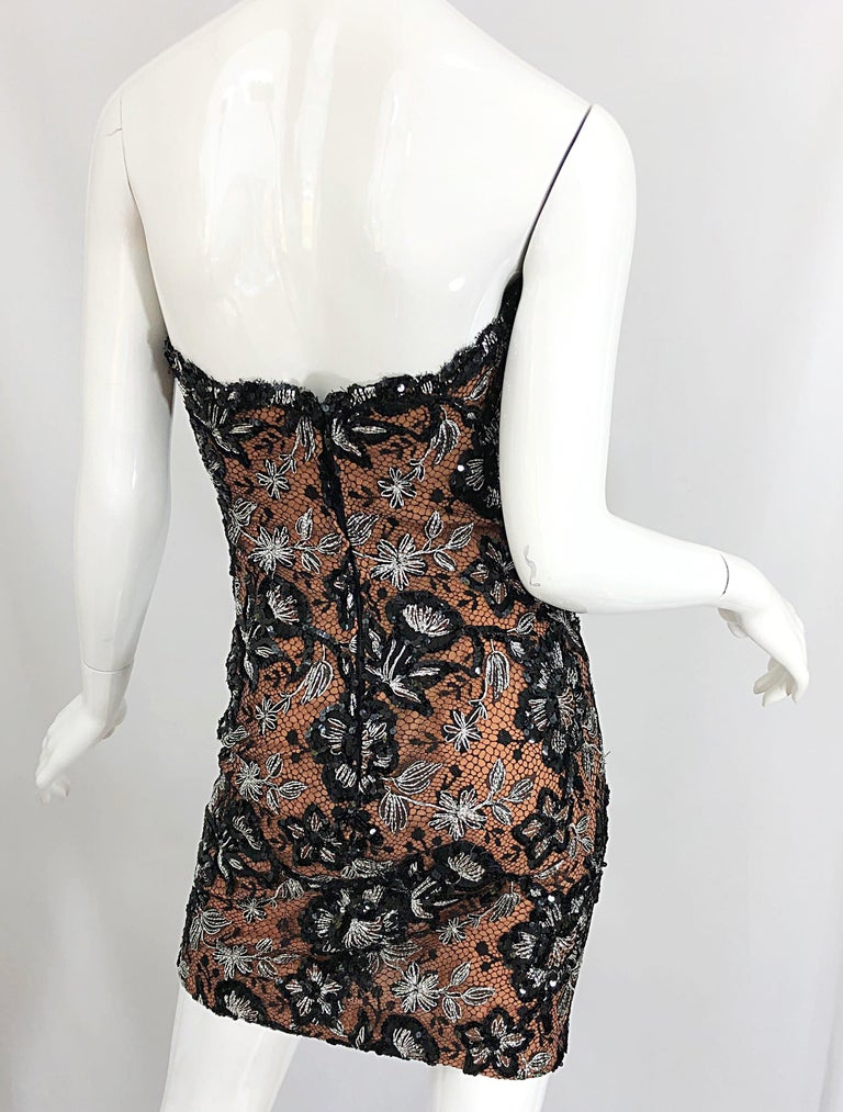 Vintage Bob Mackie Size 4 / 6 Black Nude Lace Sequin Sexy Plunging Mini Dress  For Sale 7