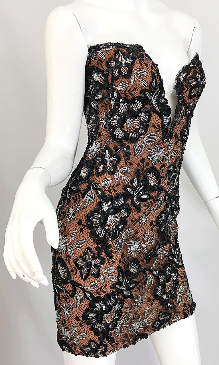 Vintage Bob Mackie Size 4 / 6 Black Nude Lace Sequin Sexy Plunging Mini Dress  For Sale 8