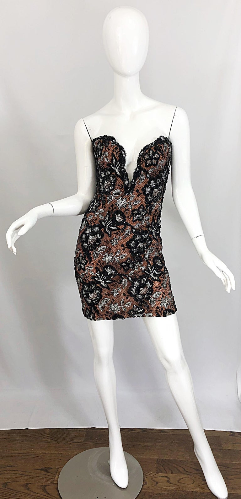 Vintage Bob Mackie Size 4 / 6 Black Nude Lace Sequin Sexy Plunging Mini Dress  For Sale 10