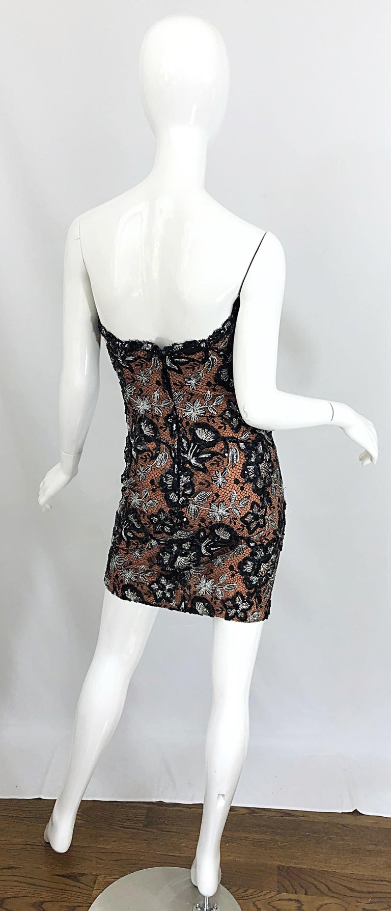 Vintage Bob Mackie Size 4 / 6 Black Nude Lace Sequin Sexy Plunging Mini Dress  For Sale 1