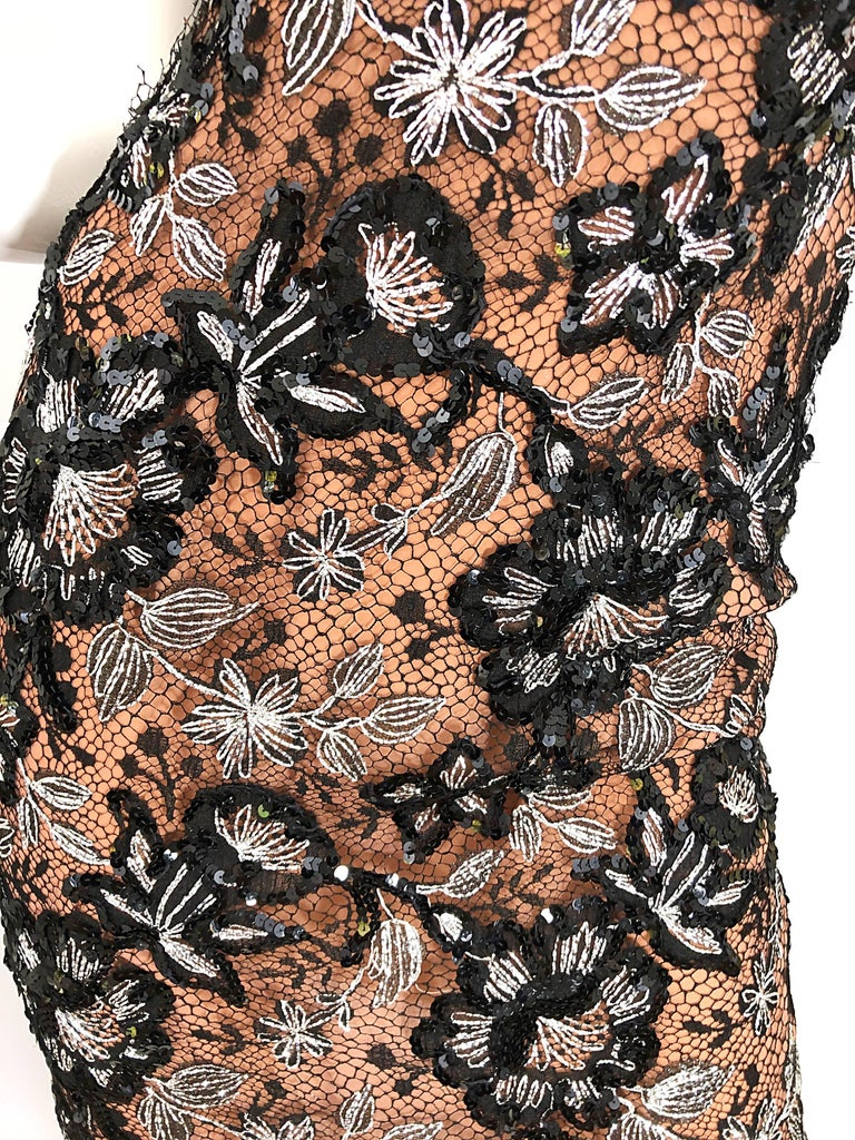 Vintage Bob Mackie Size 4 / 6 Black Nude Lace Sequin Sexy Plunging Mini Dress  For Sale 3