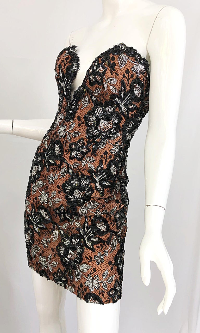 Vintage Bob Mackie Size 4 / 6 Black Nude Lace Sequin Sexy Plunging Mini Dress  For Sale 4