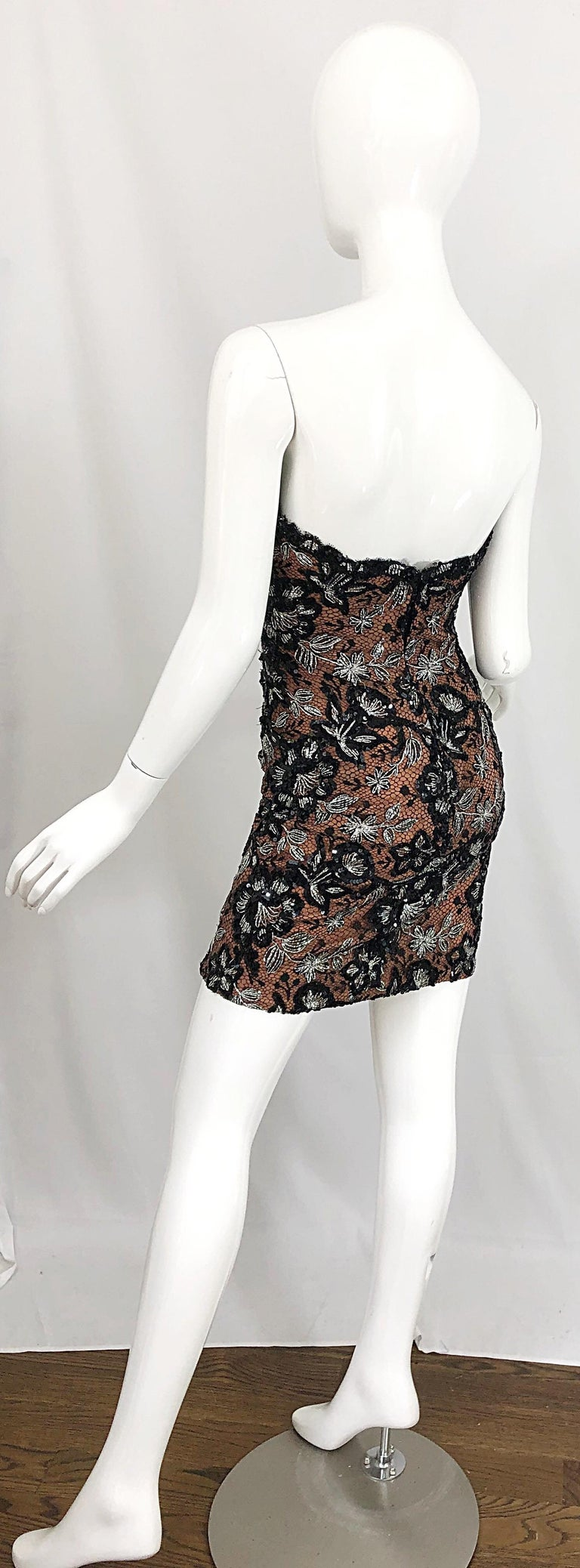 Vintage Bob Mackie Size 4 / 6 Black Nude Lace Sequin Sexy Plunging Mini Dress  For Sale 5