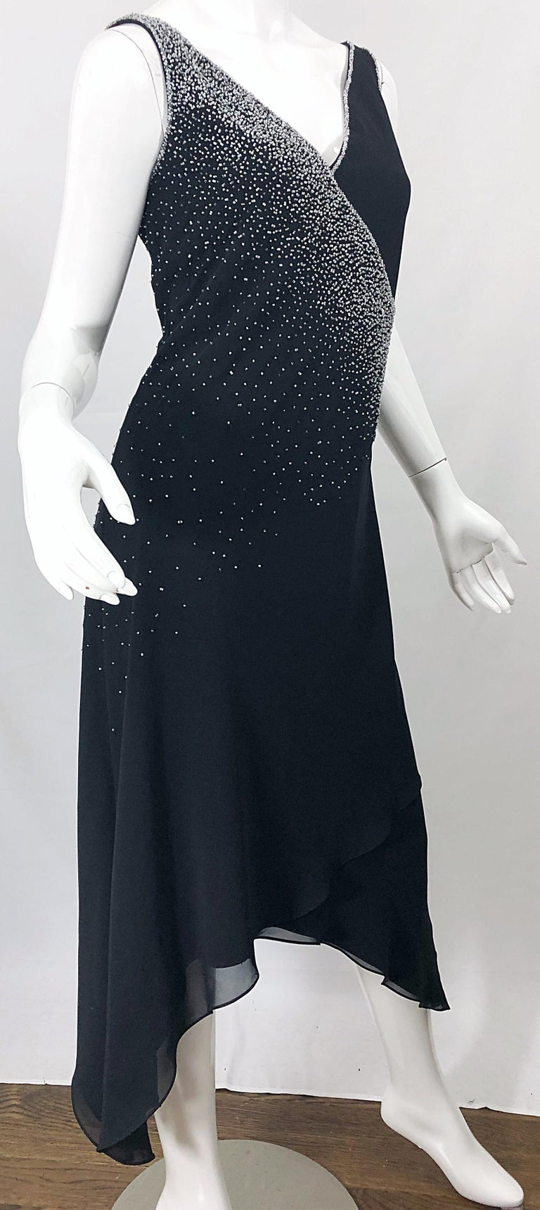 Vintage Bob Mackie Size 8 Black 1990s Silk Chiffon Beaded Hi - Lo 90s Dress For Sale 7