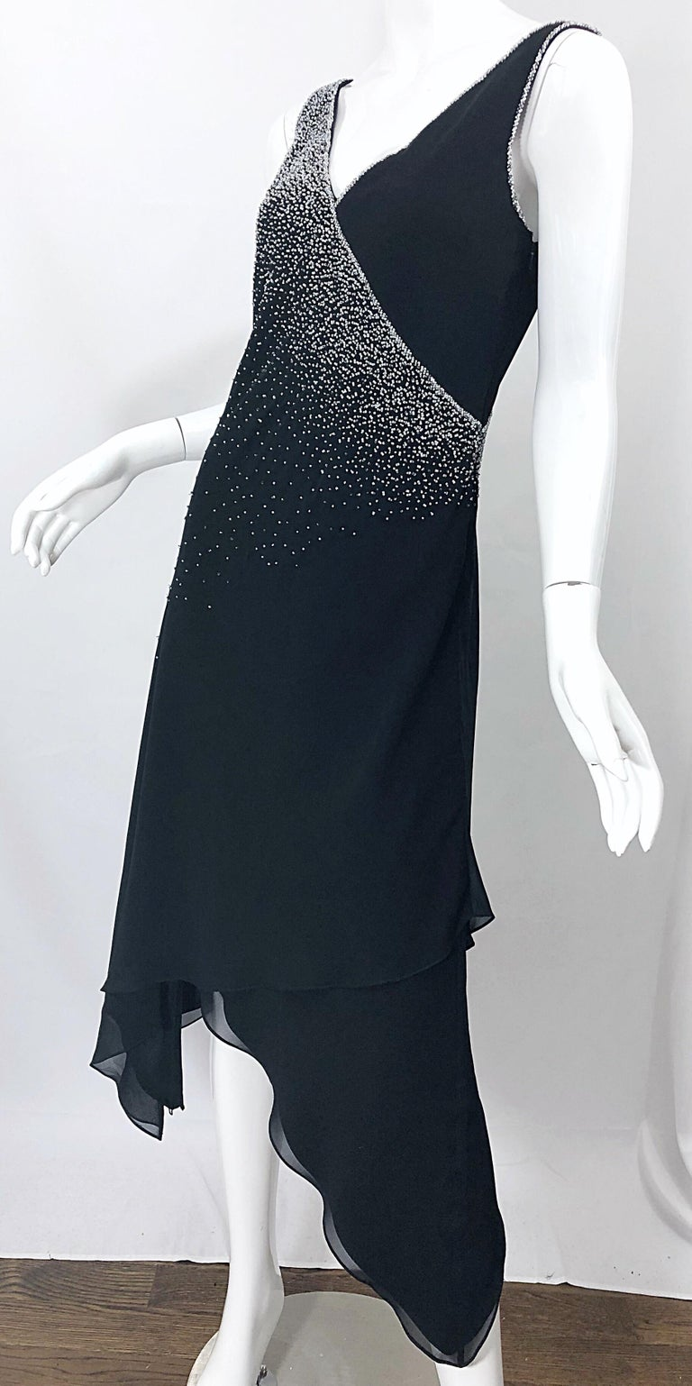 Vintage Bob Mackie Size 8 Black 1990s Silk Chiffon Beaded Hi - Lo 90s Dress For Sale 8