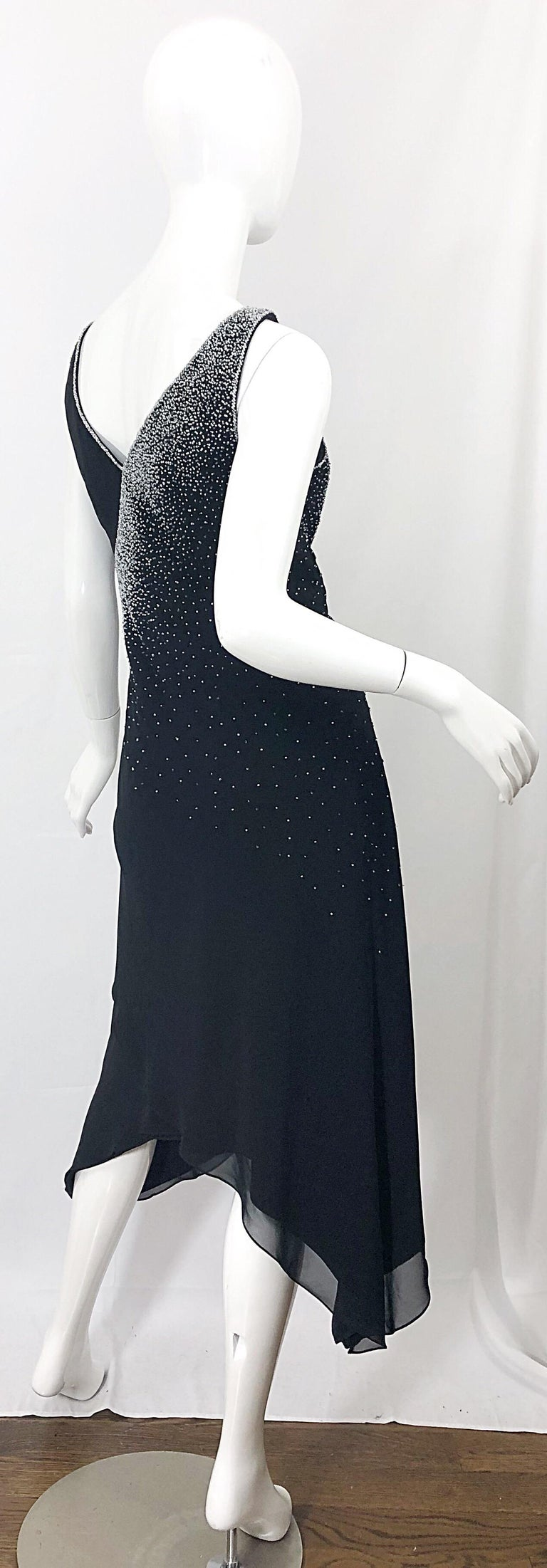 Vintage Bob Mackie Size 8 Black 1990s Silk Chiffon Beaded Hi - Lo 90s Dress For Sale 9