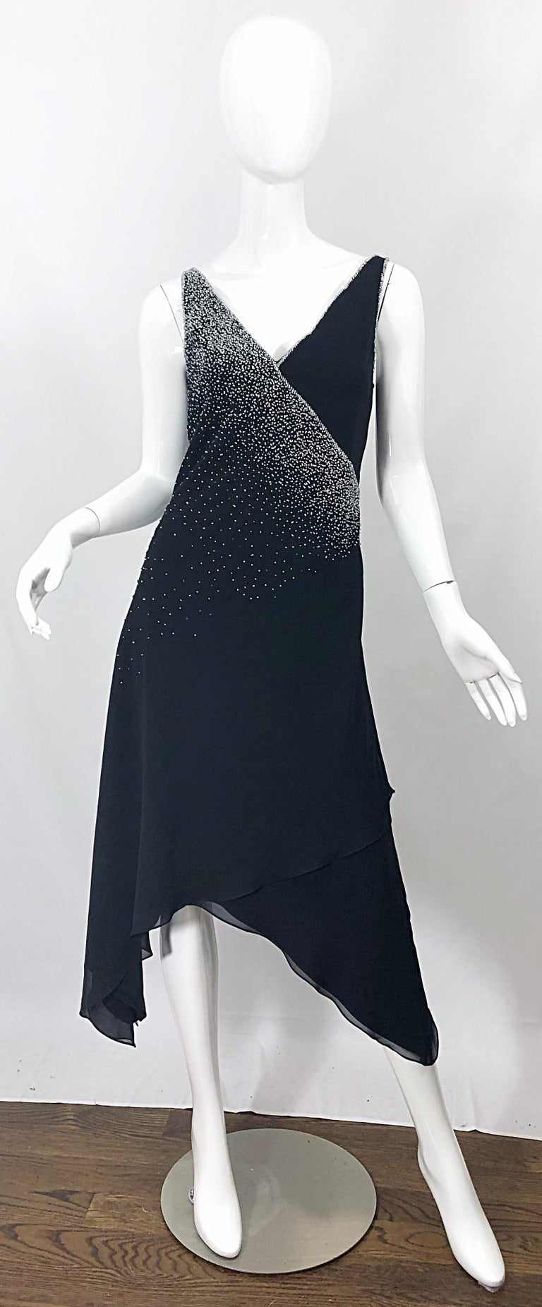 Vintage Bob Mackie Size 8 Black 1990s Silk Chiffon Beaded Hi - Lo 90s Dress For Sale 10
