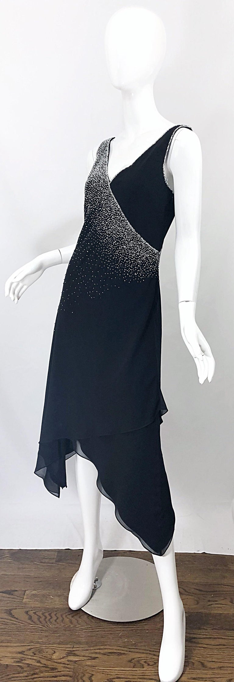 Vintage Bob Mackie Size 8 Black 1990s Silk Chiffon Beaded Hi - Lo 90s Dress For Sale 2