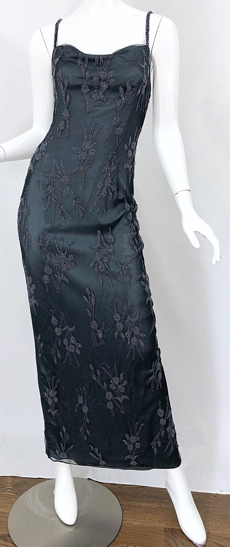 Vintage Bob Mackie Size 8 Grey Beaded 1990s Sequin Sleeveless 90s Evening Gown For Sale 5