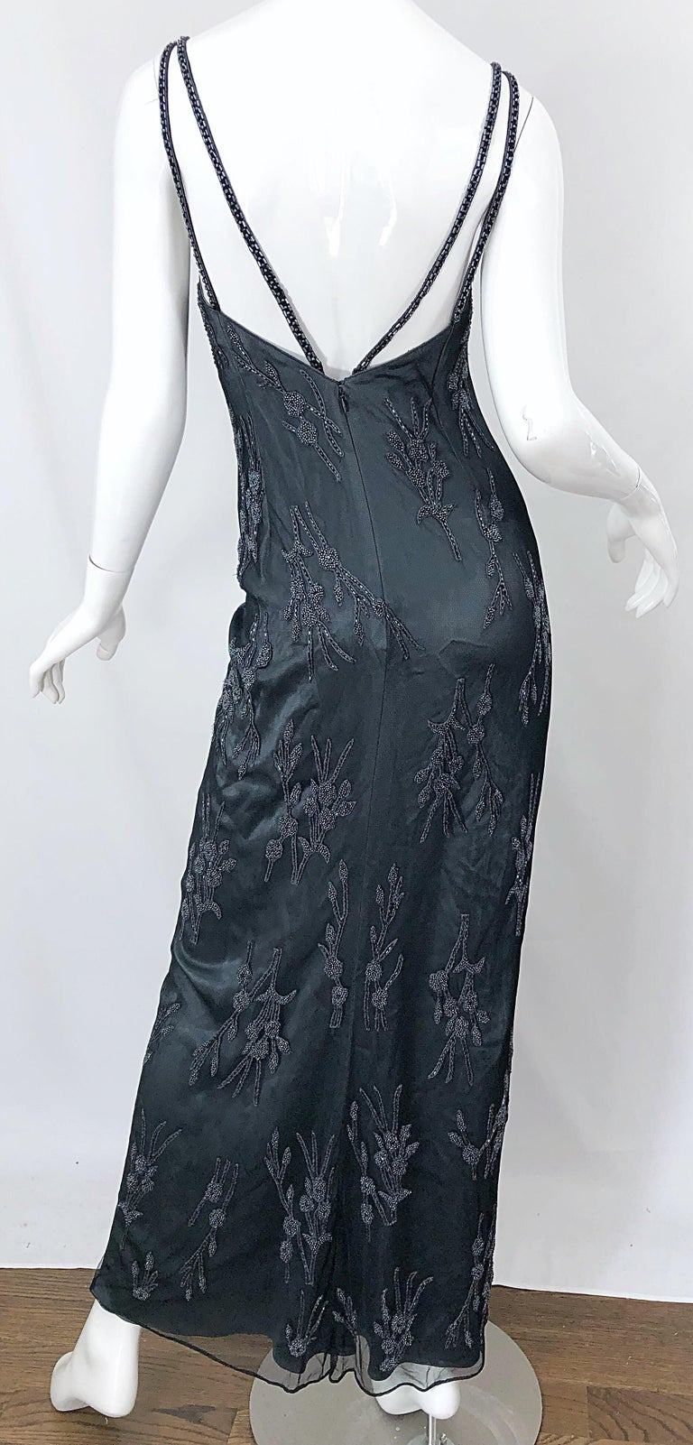 Vintage Bob Mackie Size 8 Grey Beaded 1990s Sequin Sleeveless 90s Evening Gown For Sale 6