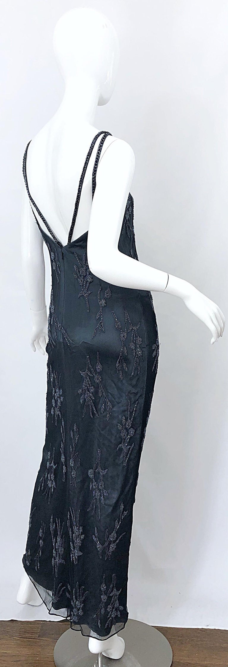 Vintage Bob Mackie Size 8 Grey Beaded 1990s Sequin Sleeveless 90s Evening Gown For Sale 8