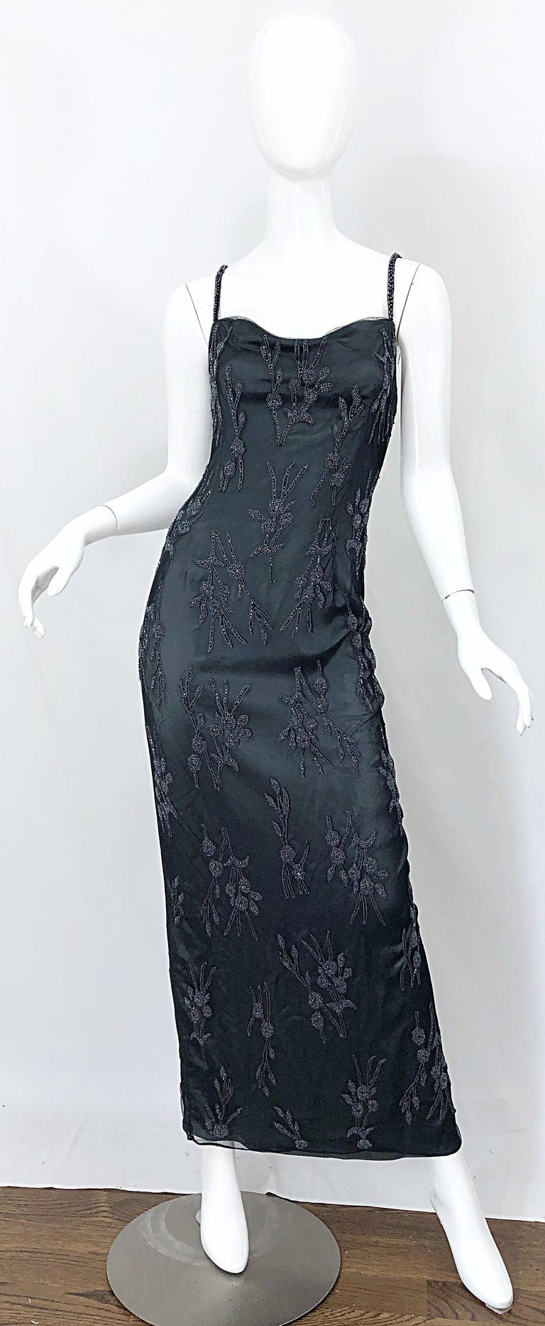 Beautiful vintage BOB MACKIE mid 1990s gray beaded / sequined silk and mesh sleeveless gown! I don't know which is better, the front or the back. Front bodice features a draped Grecian style bodice, while the back features two Avant Garde straps on