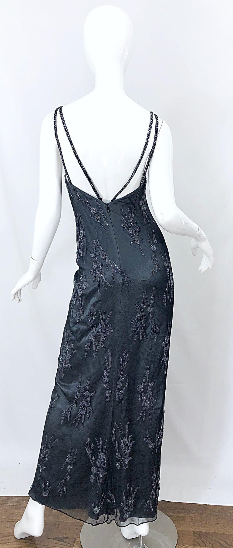 Black Vintage Bob Mackie Size 8 Grey Beaded 1990s Sequin Sleeveless 90s Evening Gown For Sale