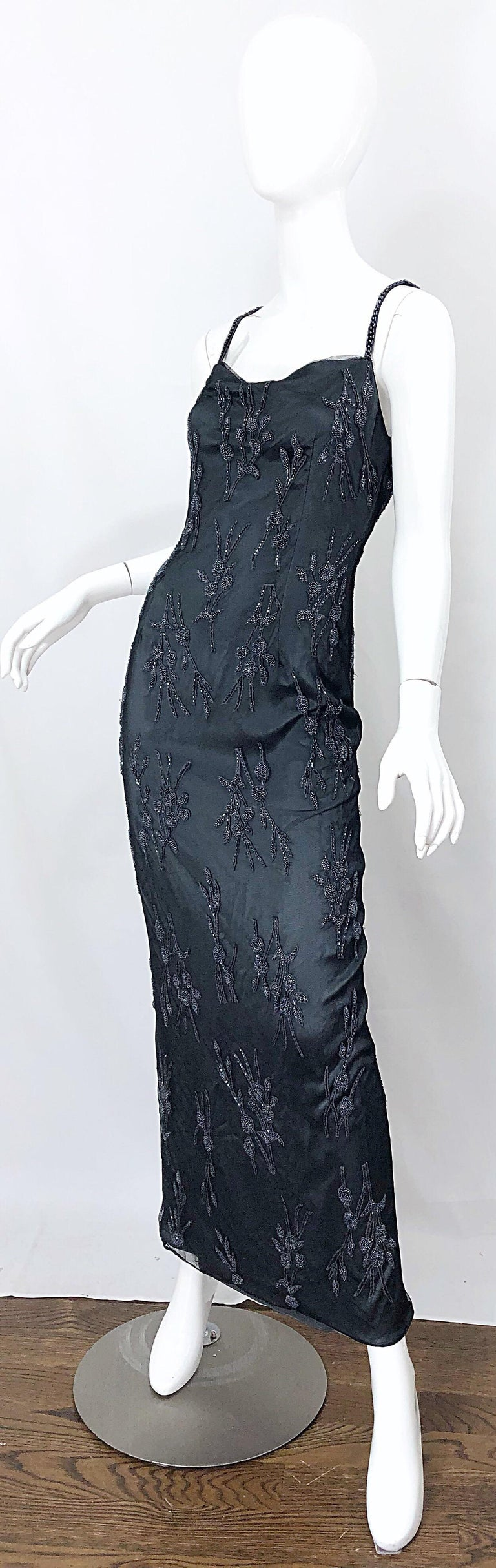 Vintage Bob Mackie Size 8 Grey Beaded 1990s Sequin Sleeveless 90s Evening Gown For Sale 1