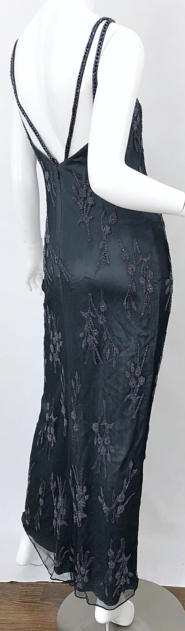 Vintage Bob Mackie Size 8 Grey Beaded 1990s Sequin Sleeveless 90s Evening Gown For Sale 3