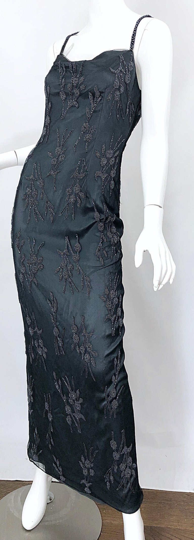 Vintage Bob Mackie Size 8 Grey Beaded 1990s Sequin Sleeveless 90s Evening Gown For Sale 4